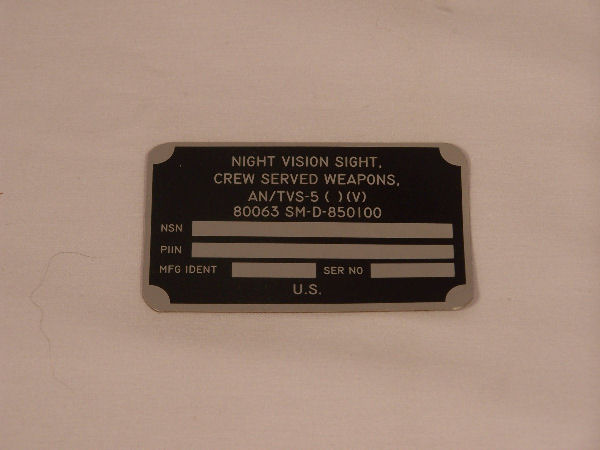 AN/TVS-5 Data Plate, Night Vision Sight, Crew Served Weapons